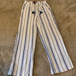 Blue striped linen trousers
